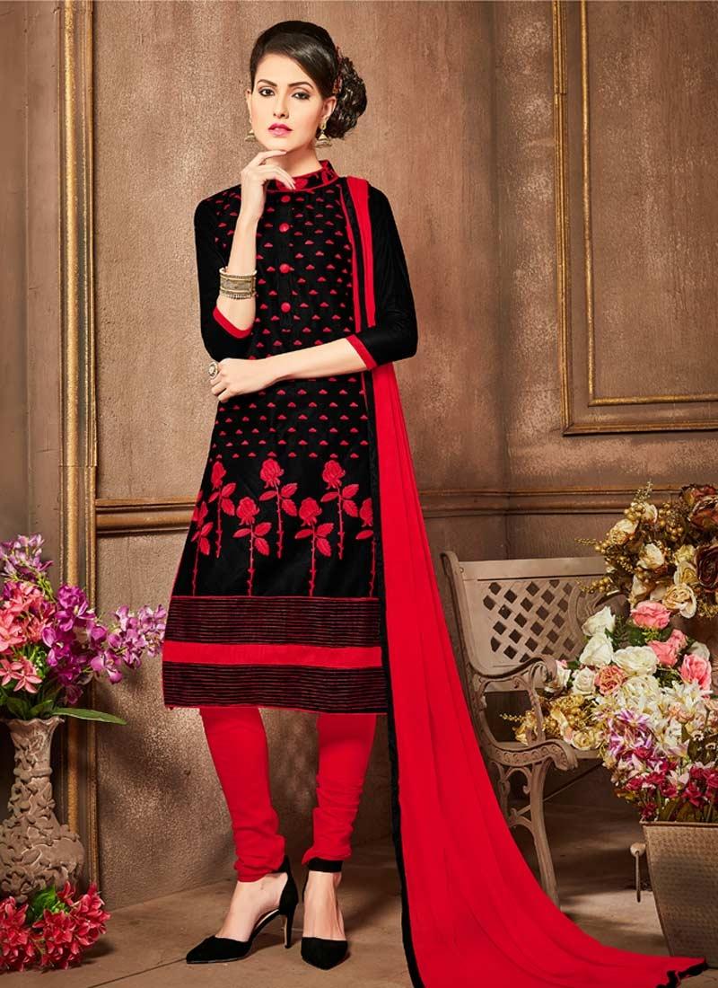 Embroidered Work Trendy Churidar Salwar Suit