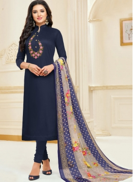 Embroidered Work Trendy Churidar Salwar Suit For Casual