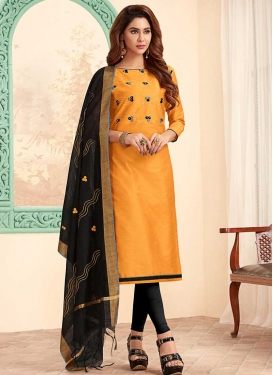 Embroidered Work Trendy Churidar Suit