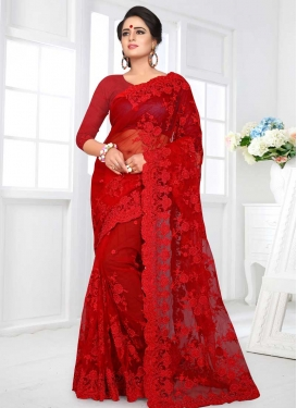 Embroidered Work Trendy Classic Saree For Bridal