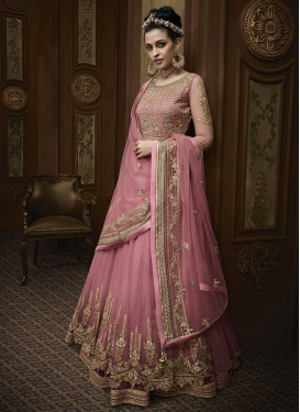 Embroidered Work Trendy Layered Floor Length Suit