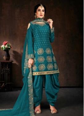 Embroidered Work Trendy Patiala Salwar Kameez