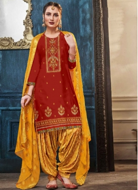 Embroidered Work Trendy Patiala Salwar Suit