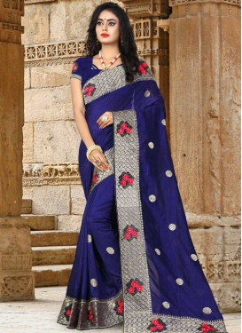 Embroidered Work Trendy Saree For Festival