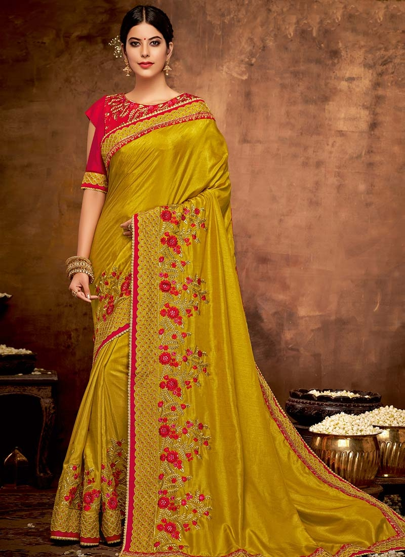 Embroidered Work Trendy Saree For Party