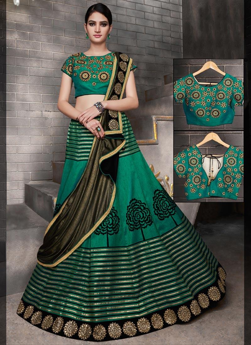 Embroidered Work Tussar Silk A - Line Lehenga