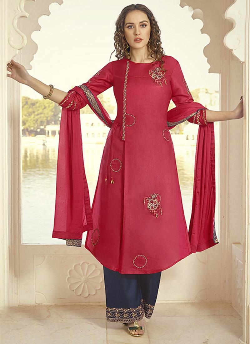 Embroidered Work Tussar Silk Palazzo Designer Salwar Kameez