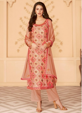 Embroidered Work Tussar Silk Pant Style Pakistani Salwar Kameez