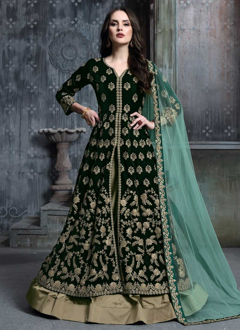 Embroidered Work Velvet Bottle Green and Brown Kameez Style Lehenga