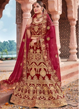 Embroidered Work Velvet Lehenga Choli