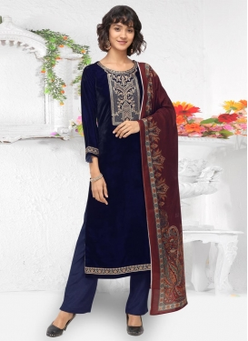Embroidered Work Velvet Pant Style Pakistani Salwar Kameez