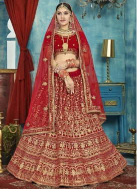 Embroidered Work Velvet Trendy Lehenga