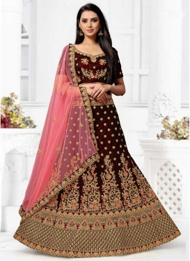 Embroidered Work Velvet Trendy Lehenga Choli