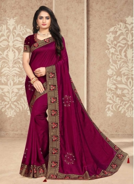 Embroidered Work Vichitra Silk Contemporary Style Saree