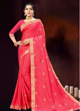 Embroidered Work Vichitra Silk Designer Contemporary Saree