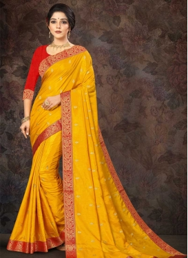 Embroidered Work Vichitra Silk Designer Contemporary Style Saree