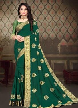Embroidered Work Vichitra Silk Traditional Designer Saree