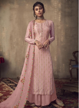 Embroidered Work Viscose Palazzo Style Pakistani Salwar Kameez