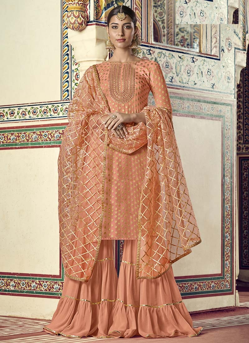 Embroidered Work Viscose Sharara Salwar Suit