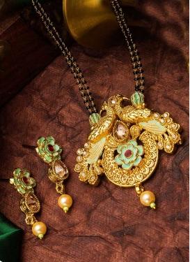 Enchanting Beads Work Black and Gold Gold Rodium Polish Mangalsutra Set