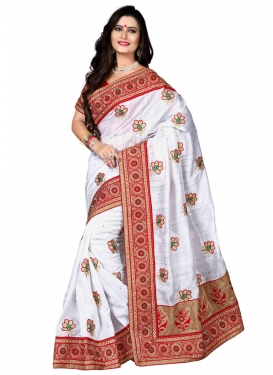 Enchanting Silk Stone And Resham Work Designer Saree