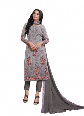 Energetic Cotton Grey Pant Style Suit
