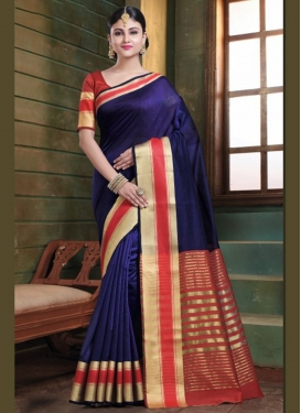 Energetic Navy Blue Art Silk Traditional Saree