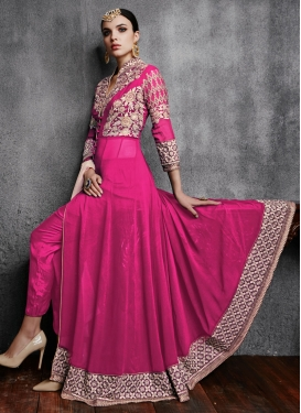 Engrossing Embroidery And Lace Work Pant Style Designer Suit