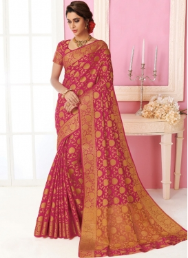 Engrossing Tussar Silk Rose Pink Traditional Saree