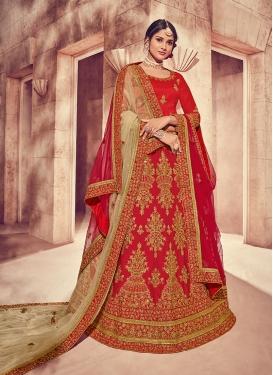 Enthralling Embroidered Red Designer Lehenga Choli