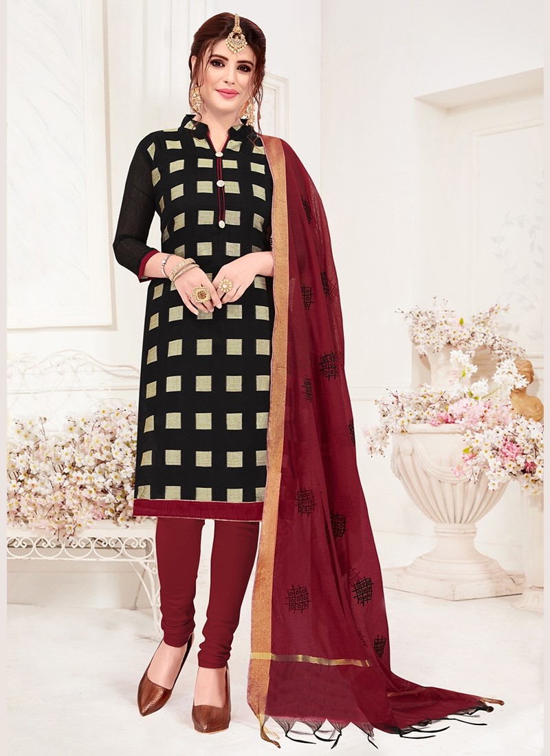 Enthralling Jacquard Silk Black Print Churidar Suit