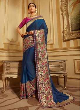 Enticing Navy Blue Patch Border Traditional Designer Saree