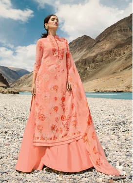Enticing Peach Embroidered Faux Georgette Designer Pakistani Suit