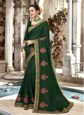 Entrancing Embroidered Green Trendy Saree