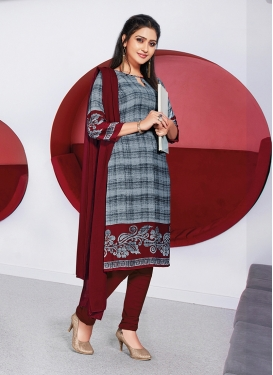 Entrancing Grey And Maroon Casual Churidar Suit