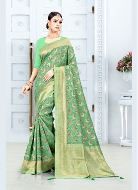 Entrancing Mint Green Weaving Traditional Saree