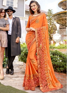Entrancing Orange Classic Saree