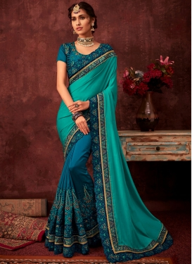 Entrancing Poly Silk Blue and Turquoise Embroidered Designer Half N Half Saree