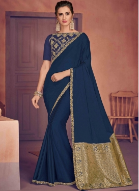 Epitome Embroidered Navy Blue Designer Traditional Saree