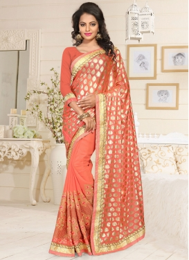 Epitome Faux Georgette Embroidered Work Salmon Traditional Designer Saree