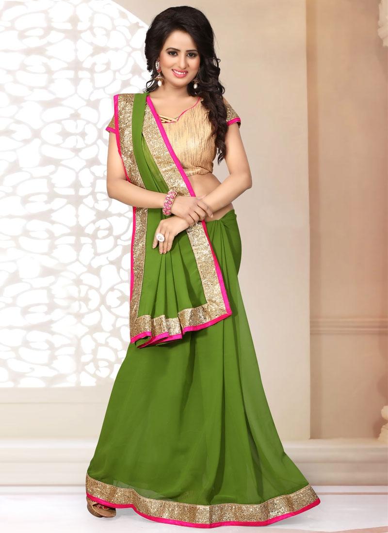EspecialOlive Color Lace Work Casual Saree
