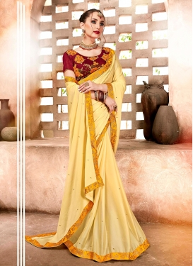 Especial Satin Georgette Yellow Embroidered Saree