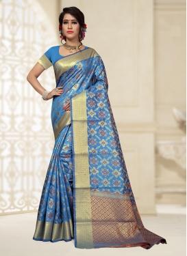 Exceeding Light Blue Ceremonial Designer Traditional Saree
