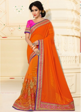 Excellent Net Embroidered Work Trendy Classic Saree