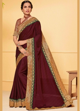 Exceptional Faux Chiffon Patch Border Classic Saree