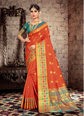 Exciting Cotton Silk Orange Traditional Designer Saree