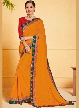 Exciting Faux Chiffon Orange Classic Designer Saree