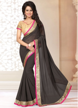 Extraordinary Lace Work Faux Georgette Casual Saree