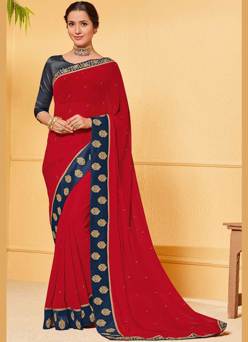 Extraordinary Patch Border Red Faux Chiffon Saree