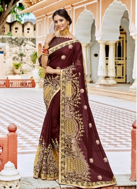 Eye-Catchy Embroidered Georgette Classic Saree